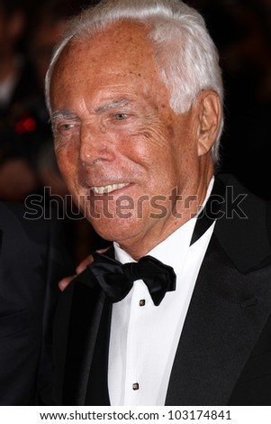 CANNES, FRANCE - MAY 18: Giorgio Armani of Haiti Carnival in Cannes during the 65th Annual Cannes Film Festival at Palais des Festivals on May 18, 2012 in Cannes, France.