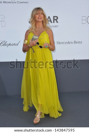 CANNES, FRANCE - MAY 23, 2013: Goldie Hawn at amfAR's 20th Cinema Against AIDS Gala at the Hotel du Cap d'Antibes, France  - stock photo
