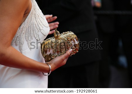 CANNES, FRANCE - MAY 15: Guest (dress detail) attends the 'Mr.Turner' Premiere at the 67th Annual Cannes Film Festival on May 15, 2014 in Cannes, France.  - stock photo