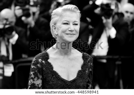 CANNES, FRANCE - MAY 18: Helen Mirren attends 'The Unknown Girl' Premiere during the 69th Cannes Film Festival on May 18, 2016 in Cannes, France. - stock photo