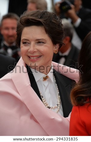 "CANNES, FRANCE - MAY 23, 2015: Isabella Rossellini at the gala premiere for ""Macbeth"" at the 68th Festival de Cannes."