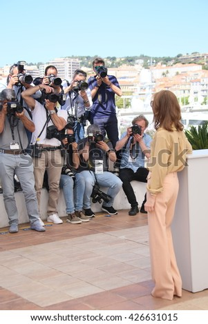 CANNES, FRANCE - MAY 21:   Isabelle Huppert attends the 'Elle' Photocall during the 69th annual Cannes Film Festival at the Palais des Festivals on May 21, 2016 in Cannes, France.  - stock photo
