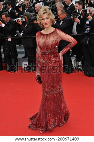 "CANNES, FRANCE - MAY 14, 2014: Jane Fonda at the gala premiere of ""Grace of Monaco"" at the 67th Festival de Cannes.  - stock photo"