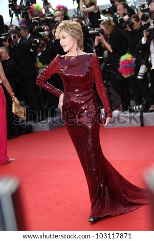 CANNES, FRANCE - MAY 18: Jane Fonda attends the 'Once Upon A Time' Premiere during 65th Annual Cannes Film Festival during at Palais des Festivals on May 18, 2012 in Cannes, France. - stock photo
