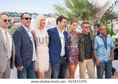 Cannes, France - 20 MAY 2016 - Jean Reno, Charlize Theron, Javier Bardem, Adele Exarchopoulos and Sean Penn attend the 'The Last Face' photocall during the 69th annual Cannes Film Festival - stock photo