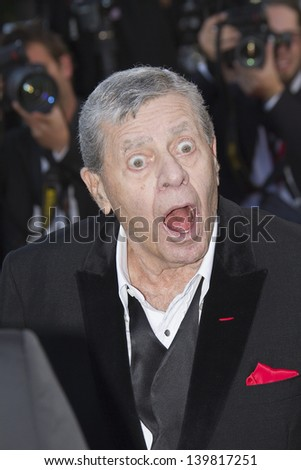 CANNES, FRANCE - MAY 23: Jerry Lewis attends the 'Nebraska' premiere during The 66th Cannes Film Festival at the Palais des Festival on May 23, 2013 in Cannes, France. - stock photo
