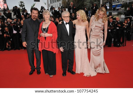 "CANNES, FRANCE - MAY 15, 2010: Josh Brolin, Gemma Jones, Woody Allen, Naomi Watts & Lucy Punch at the premiere of their new movie ""You Will Meet A Tall Dark Stranger"" at the 63rd Festival de Cannes. - stock photo"