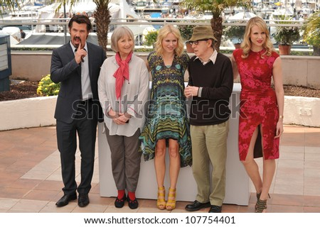 "CANNES, FRANCE - MAY 15, 2010: Josh Brolin (left), Gemma Jones, Naomi Watts, Woody Allen & Lucy Punch at the photocall for ""You Will Meet A Tall Dark Stranger"" at the 63rd Festival de Cannes. - stock photo"