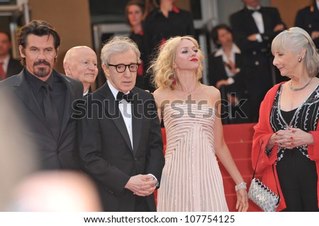 "CANNES, FRANCE - MAY 15, 2010: Josh Brolin (left), Woody Allen, Naomi Watts & Gemma Jones at the premiere of their new movie ""You Will Meet A Tall Dark Stranger"" at the 63rd Festival de Cannes. - stock photo"