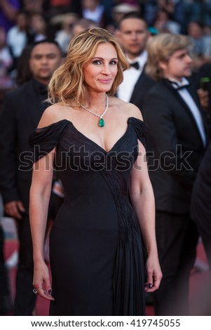 Cannes, France - 12 MAY 2016 - Julia Roberts attends the 'Money Monster' premiere during the 69th annual Cannes Film Festival - stock photo