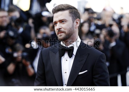 CANNES, FRANCE - MAY 11: Justin Timberlake attends the 'Cafe Society' premiere during the 69th Cannes Film Festival on May 11, 2016 in Cannes, France. - stock photo