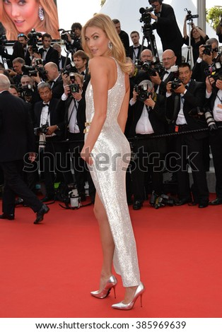 CANNES, FRANCE - MAY 13, 2015: Karlie Kloss at the gala opening ceremony of the 68th Festival de Cannes.