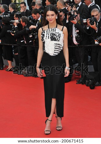 "CANNES, FRANCE - MAY 14, 2014: Kendal Jenner at the gala premiere of ""Grace of Monaco"" at the 67th Festival de Cannes.  - stock photo"