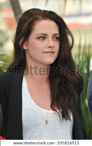 """CANNES, FRANCE - MAY 23, 2012: Kristen Stewart at the photocall for her new movie """"On The Road"""" in Cannes. May 23, 2012  Cannes, France - stock photo"""