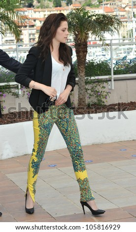 "CANNES, FRANCE - MAY 23, 2012: Kristen Stewart at the photocall for her new movie ""On The Road"" in Cannes. May 23, 2012  Cannes, France - stock photo"