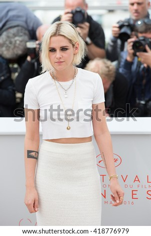 CANNES, FRANCE - MAY 11: Kristen Stewart attends the 'Cafe Society' photocall during the 69th annual Cannes Film Festival at Palais des Festivals on May 11, 2016 in Cannes, France. - stock photo