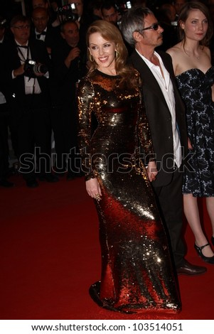 CANNES, FRANCE - MAY 23: Kylie Minogue attends the 'Holy Motors' premiere during the 65th Annual Cannes Film Festival at Palais des Festivals on May 23, 2012 in Cannes, France. - stock photo