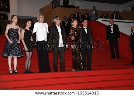 CANNES, FRANCE - MAY 23: Kylie Minogue, Denis Lavant, Leos Carax attend the 'Holy Motors' premiere during the 65th Cannes Film Festival at Palais des Festivals on May 23, 2012 in Cannes, France. - stock photo