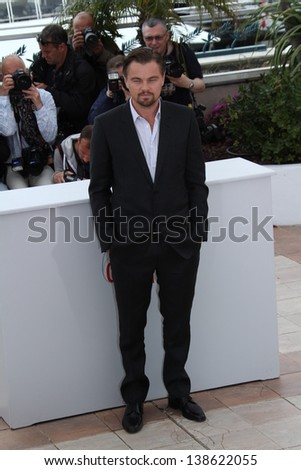 CANNES, FRANCE - MAY 15: Leonardo DiCaprio attends 'The Great Gatsby' photocall during the 66th Annual Cannes Film Festival at the Palais des Festivals on May 15, 2013 in Cannes, France. - stock photo