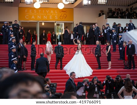 Cannes, France - 11 MAY 2016 - Li Bingbing attends the screening of 'Cafe Society' at the opening gala of the annual 69th Cannes Film Festival