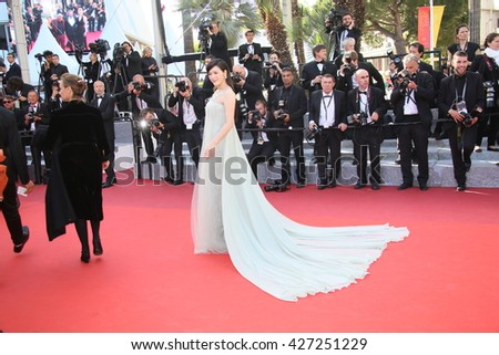 CANNES, FRANCE - MAY 19: Ly Nha Kyser attends the 'Graduation (Bacalaureat)' Premiere during the 69th annual Cannes Film Festival at the Palais des Festivals on May 19, 2016 in Cannes, France. - stock photo