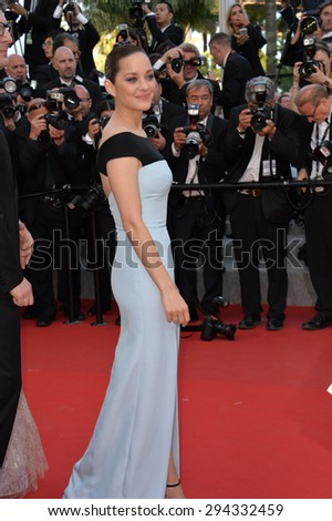 """CANNES, FRANCE - MAY 22, 2015: Marion Cotillard at the gala premiere of her movie """"The Little Prince"""" the 68th Festival de Cannes. - stock photo"""