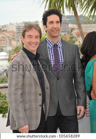 "CANNES, FRANCE - MAY 18, 2012: Martin Short & David Schwimmer at the photocall for their new movie ""Madagascar 3: Europe's Most Wanted"" in Cannes. May 18, 2012  Cannes, France"