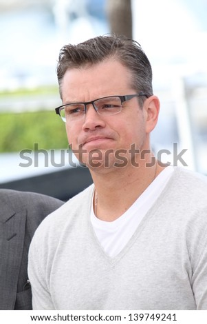 CANNES, FRANCE - MAY 21:  Matt Damon attends the 'Behind The Candelabra' Photocall during The 66th Cannes Film Festival at the Palais des Festivals on May 21, 2013 in Cannes, France. - stock photo
