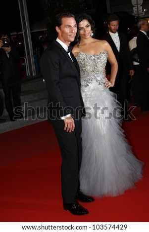 CANNES, FRANCE - MAY 26: Matthew McConaughey and Camila Alves attend the 'Mud' Premiere during the 65th Annual Cannes Film Festival at Palais des Festivals on May 26, 2012 in Cannes, France. - stock photo