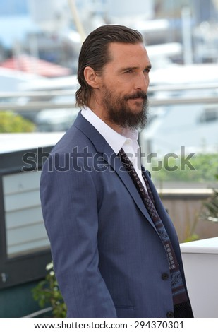 "CANNES, FRANCE - MAY 16, 2015: Matthew McConaughey at the photocall for his movie ""The Sea of Trees"" at the 68th Festival de Cannes."
