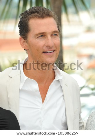 "CANNES, FRANCE - MAY 26, 2012: Matthew McConaughey at the photocall for his new movie ""Mud"" in competition at the 65th Festival de Cannes. May 26, 2012  Cannes, France"