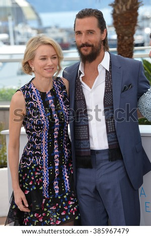 "CANNES, FRANCE - MAY 16, 2015: Matthew McConaughey & Naomi Watts at the photocall for their movie ""The Sea of Trees"" at the 68th Festival de Cannes."