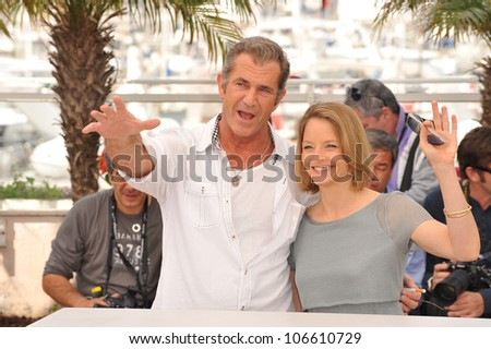 "CANNES, FRANCE - MAY 18, 2011: Mel Gibson & Jodie Foster at the photocall for their movie ""The Beaver"" n competition at the 64th Festival de Cannes. May 18, 2011  Cannes, France"
