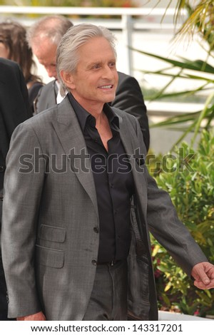 "CANNES, FRANCE - MAY 21, 2013: Michael Douglas at photocall for his movie ""Behind the Candelabra"" at the 66th Festival de Cannes."