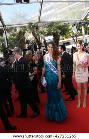 CANNES, FRANCE - MAY 19: Miss Cannes 2016 Lydia Lestan attends the 'Graduation (Bacalaureat)' Premiere during the 69th Cannes  Festival at the Palais des Festivals on May 19, 2016 in Cannes, France. - stock photo
