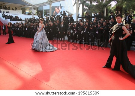 CANNES, FRANCE - MAY 23:  Model attend the 'Clouds Of Sils Maria' premiere at the 67th Annual Cannes Film Festival on May 23, 2014 in Cannes, France. - stock photo