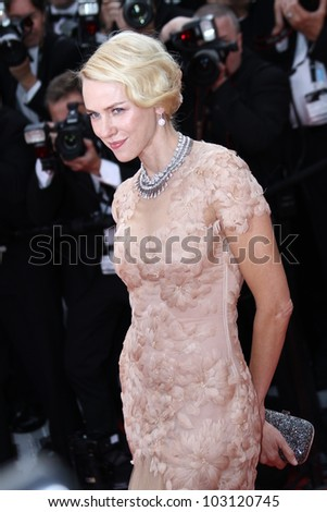 CANNES, FRANCE - MAY 18:  Naomi Watts attends the 'Madagascar 3: Europe's Most Wanted' Premiere during the 65th Cannes Festival at Palais des Festivals on May 18, 2012 in Cannes, France. - stock photo