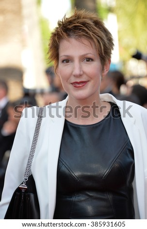 "CANNES, FRANCE - MAY 22, 2015: Natacha Polony at the gala premiere of ""The Little Prince"" the 68th Festival de Cannes."