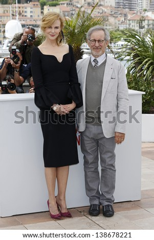 CANNES, FRANCE - MAY 15: Nicole Kidman, Steven Spielberg at the Jury photocall during the 66th Annual Cannes Film Festival at Palais des Festivals on May 15, 2013 in Cannes, France - stock photo