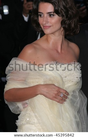 CANNES, FRANCE - MAY 19: Penelope Cruz arrives for the Premiere of the Pedro Almodovar movie 'Volver,' as part of the 59th International Cannes Film Festival on May 19, 2006 in Cannes, France - stock photo