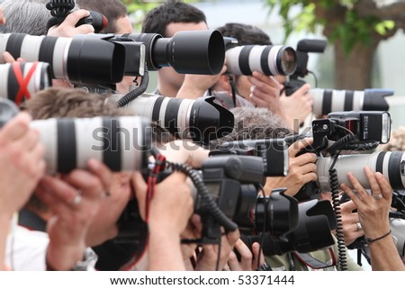 CANNES, FRANCE - MAY 17: Photographers attend a Photo Call held at the Palais des Festivals during the 63rd  Cannes Film Festival on May 17, 2010 in Cannes, France - stock photo