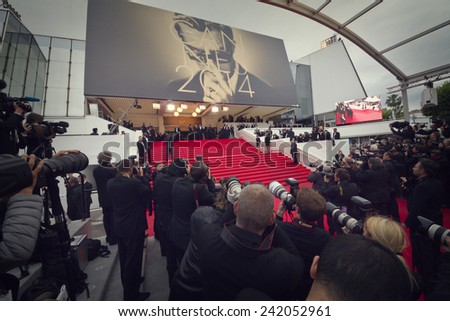 CANNES, FRANCE - MAY 15: Photographers attend the 'Mr.Turner' Premiere at the 67th Annual Cannes Film Festival on May 15, 2014 in Cannes, France. - stock photo