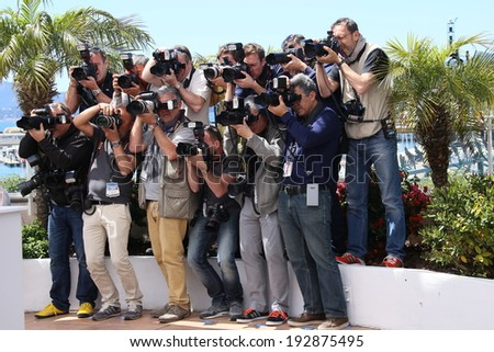 CANNES, FRANCE - MAY 14: Photographers attends the 'Grace of Monaco' photocall during the 67th Annual Cannes Film Festival on May 14, 2014 in Cannes, France.  - stock photo