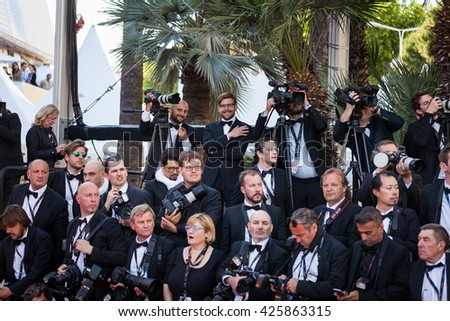 Cannes, France - 20 MAY 2016 - photographers on the red carpet of 'The Last Face' Premiere during the 69th annual Cannes Film Festival - stock photo
