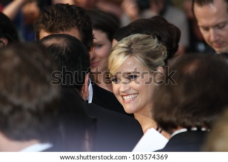 CANNES, FRANCE - MAY 26: Reese Witherspoon attends the 'Mud' Premiere during the 65th Annual Cannes Film Festival at Palais des Festivals on May 26, 2012 in Cannes, France. - stock photo