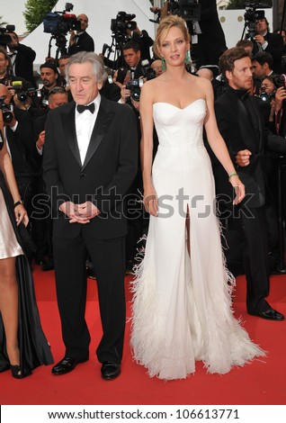 """CANNES, FRANCE - MAY 11, 2011: Robert De Niro & Uma Thurman at the gala premiere for """"Midnight in Paris"""" the opening film at the 64th Festival de Cannes. May 11, 2011  Cannes, France - stock photo"""