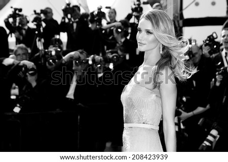 CANNES, FRANCE - MAY 21: Rosie Huntington-Whiteley attends the 'The Search' Premiere during the 67th Cannes Film Festival on May 21, 2014 in Cannes, France.  - stock photo