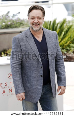 CANNES, FRANCE - MAY 15: Russell Crowe attends 'The Nice Guys' photo-call during the 69th Cannes Film Festival on May 15, 2016 in Cannes, France. - stock photo