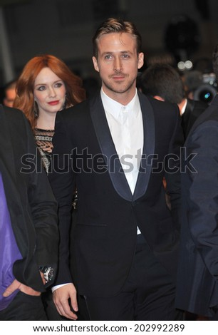 "CANNES, FRANCE - MAY 20, 2014: Ryan Gosling at the gala premiere of his movie ""Lost River"" at the 67th Festival de Cannes.  - stock photo"