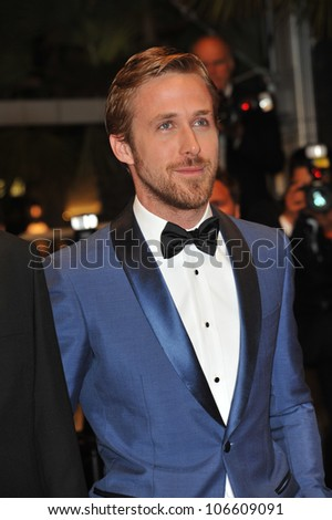 "CANNES, FRANCE - MAY 20, 2011: Ryan Gosling at the premiere of his new movie ""Drive"" in competition at the 64th Festival de Cannes. May 20, 2011  Cannes, France - stock photo"